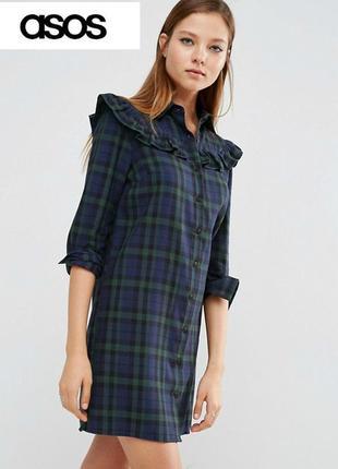 Платье-рубашка в клетку с рюшами asos, оригинал.