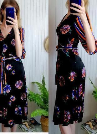 Элегантное платье миди на запах полоска цветы платье халат сатин вискоза