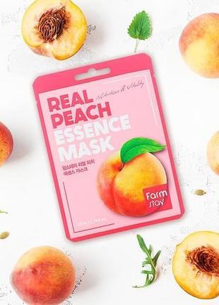 Маска тканевая для лица с экстрактом персика farmstay real peach essence mask