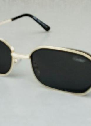 Cartier стильные солнцезащитные очки унисекс прямоугольные узкие черные в золоте