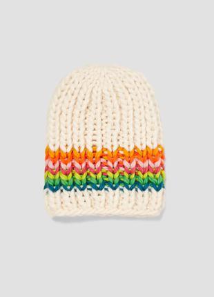 Разноцветная трикотажная шапка-бини zara