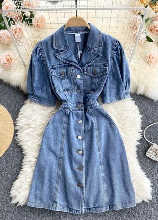 Джинсовое платье-рубашка с воротником, голубое платье-трапеция на кнопках