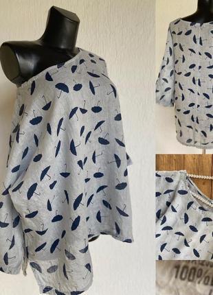 Фирменная стильная качественная натуральная блуза из льна