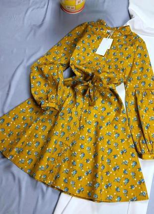 Платье с рукавами-фонариками а-силуэта