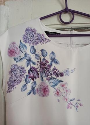 Платье сукня женское белое с рисунком цветы