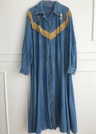 Очень крутое ретро джинсовое платье в ковбойском стиле