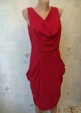 Чёрная пятница элегантное платье футляр с карманами и драпировкой цвет марсала