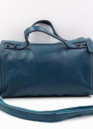 """Женская кожаная сумка среднего размера синяя """"петтри blue"""""""