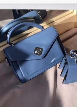 Прямоугольная синяя сумочка