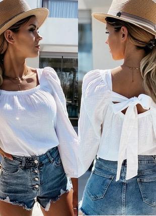Жіноча блуза з зав'язками на спині🌺