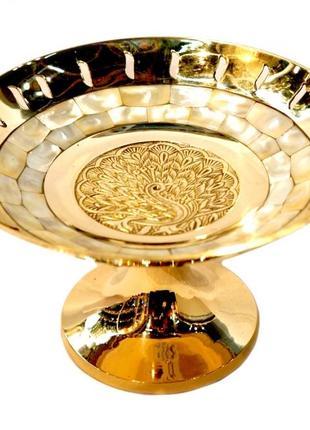 Конфетница 1 ярус shell желтый металл латунь