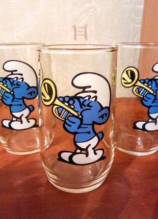 Детские стаканы с гномиками из чешского стекла 3 шт. чехия
