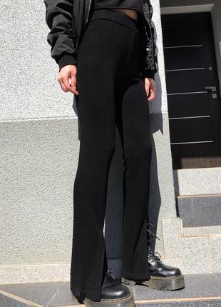 Трендовые брюки с разрезами спереди штаны-лосины клёш в рубчик на высокой посадке