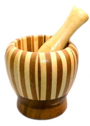 Ступка деревянная в полоску ольха