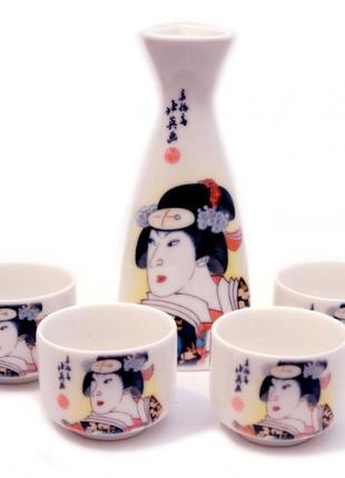 Керамический набор для саке кувшин+4 чашки