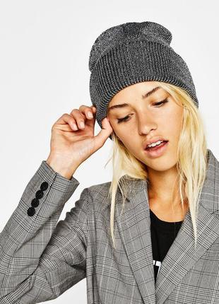 Новая шапка бини bershka серебристо серая люрекс beanie