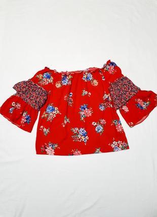 Красная блуза  с широкими рукавами воланами  открытыми плечами р 14 l