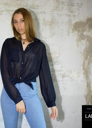 Блуза / рубашка темно-синяя в горошек