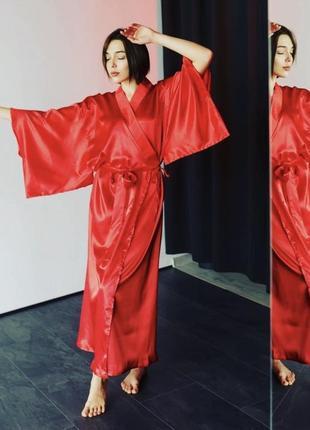 Платье-халат кимоно 42-50 макси красный атлас