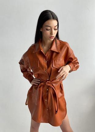 Сорочка жіноча з еко шкіри🌺