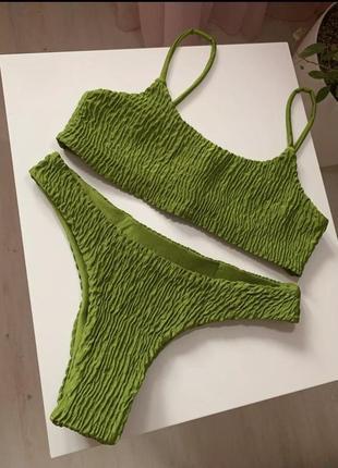 Стильный женский купальник из жатой ткани, ткань жатка, в рубчик, жатый стиль