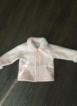 Флисовое супер пальтишко нежно-розового цвета