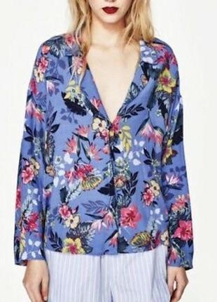 Блузка рубашечного типа в тропичный микс гавайская zara trafaluk