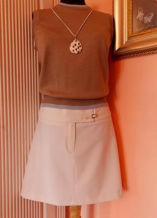 """Французская элегантная базовая юбка """"kookai"""" костюмная ткань молочного цвета"""