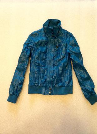 Супер стильная модная насыщенная бирюзовая курточка на осень!