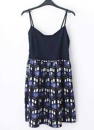 Темно-синее платье с милым «полицейским» принтом old navy • р-р l