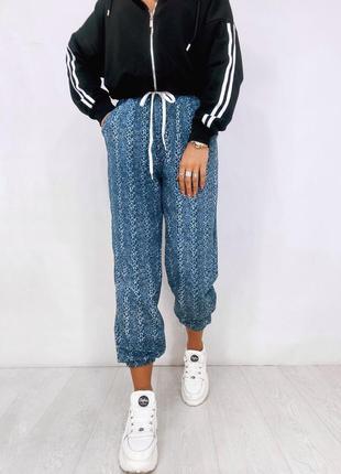 Женские повседневные штаны джоггеры принт вязка