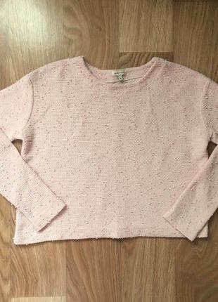 Нежно-розовый джемпер кроп с катышками