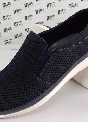Ортопедические летние туфли синие из нубука detta 40-45р.