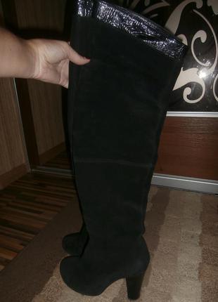 Сапоги-ботфорты осень натуральный замш и кожа