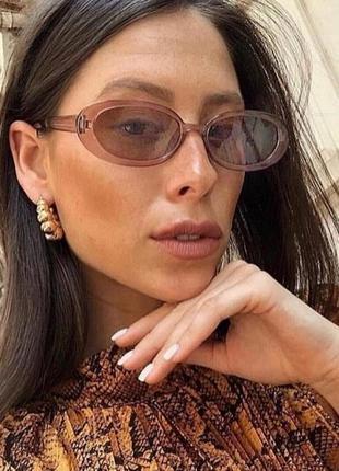 Крутые очки овальные узкие тренд прозрачные ретро винтаж окуляри
