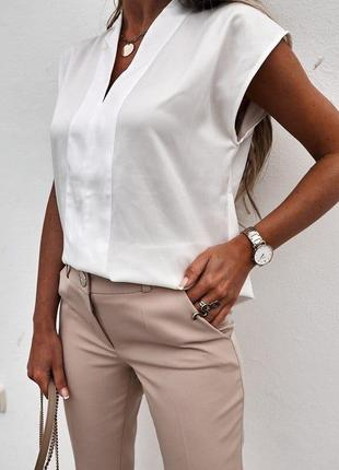 💚блузка женская, офисная, модная, летняя, легкая, до 48 р-ра, 7072/368, белый