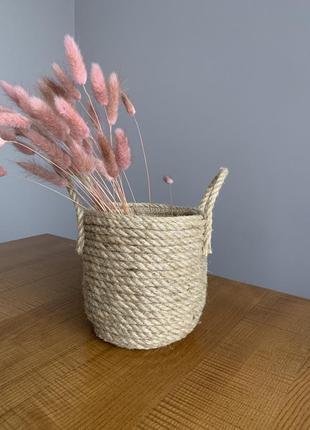 Плетёная корзинка-кашпо
