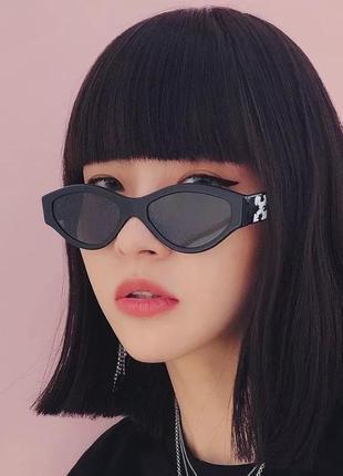Черные очки солнцезащитные геометрия узкие тренд ретро окуляри сонцезахисні чорні