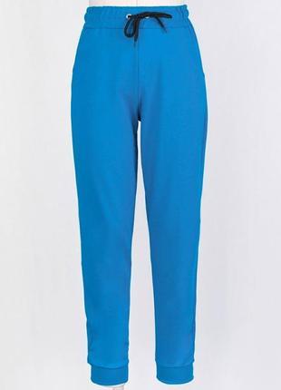 Женские спортивные брюки голубого цвета штаны голубые на высокой посадке резинках модные2 фото