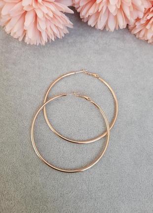 Серьги кольца 5см диаметр, медицинское золото xuping