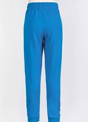 Женские голубые спортивные брюки штаны на высокой посадке резинках с карманами лампасами3 фото