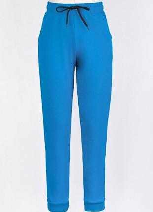 Женские голубые спортивные брюки штаны на высокой посадке резинках с карманами лампасами2 фото