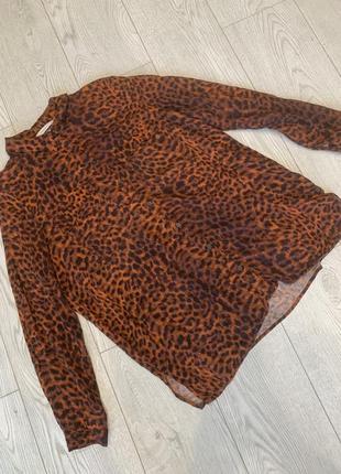 Удлиненная рубашка с леопардовым принтом