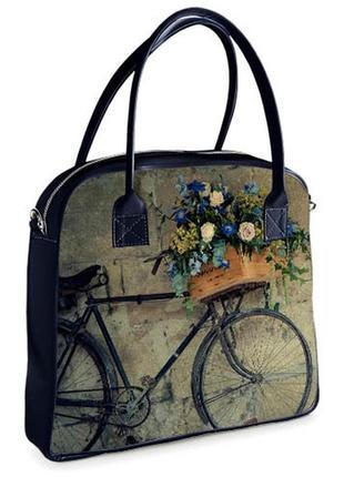 Сумка с принтом oxford велосипед ретро с корзиной цветов (oxf_16s068_tsi)