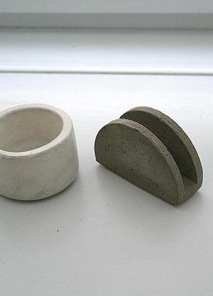 Набор сахарница и салфетница из бетона. бетон. стильные, для интерьера