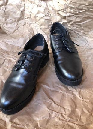 Деби оксфорды женский туфель на шнурках серый чёрный блестящий