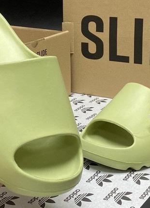 Новинка хит сезона шикарные шлепки adidas yeezy slide bone салатовый цвет  р.36-40