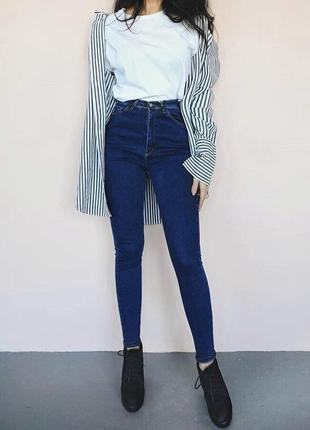 Синие скинни джинсы высокая посадка талия, цена только сегодня 🔥🔥🔥🔥🔥