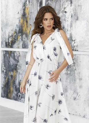 Белое длинное платье с декольте арт: 12063_белый