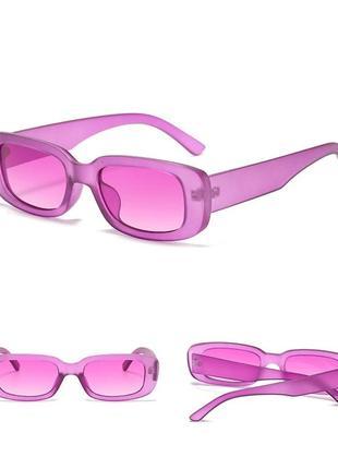 Тренд розовые очки узкие прямоугольные солнцезащитные ретро 60-е окуляри рожеві